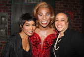 Angela Bassett Billy Porter as 'Lola' and S Epatha Merkerson pose backstage at the hit musical 'Kinky Boots' on Broadway at The Al Hirshfeld Theater...