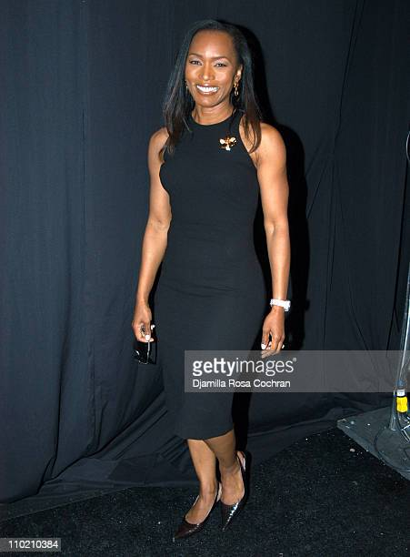 Angela Bassett during Olympus Fashion Week Spring 2005 Carmen Marc Valvo Front Row and Backstage at Theater Tent Bryant Park in New York City New...