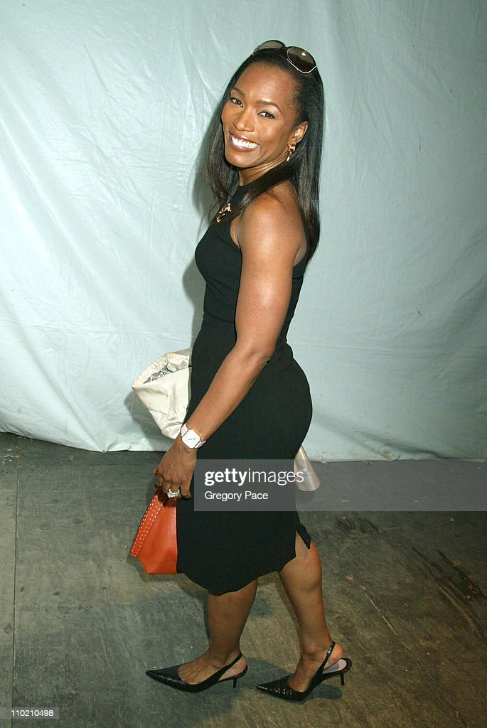 Angela Bassett during Olympus Fashion Week Spring 2005 Carmen Marc Valvo Backstage at Theater Tent Bryant Park in New York City New York United States