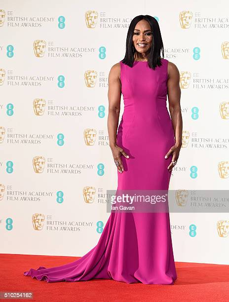Angela Bassett poses in the winners room at the EE British Academy Film Awards at the Royal Opera House on February 14 2016 in London England