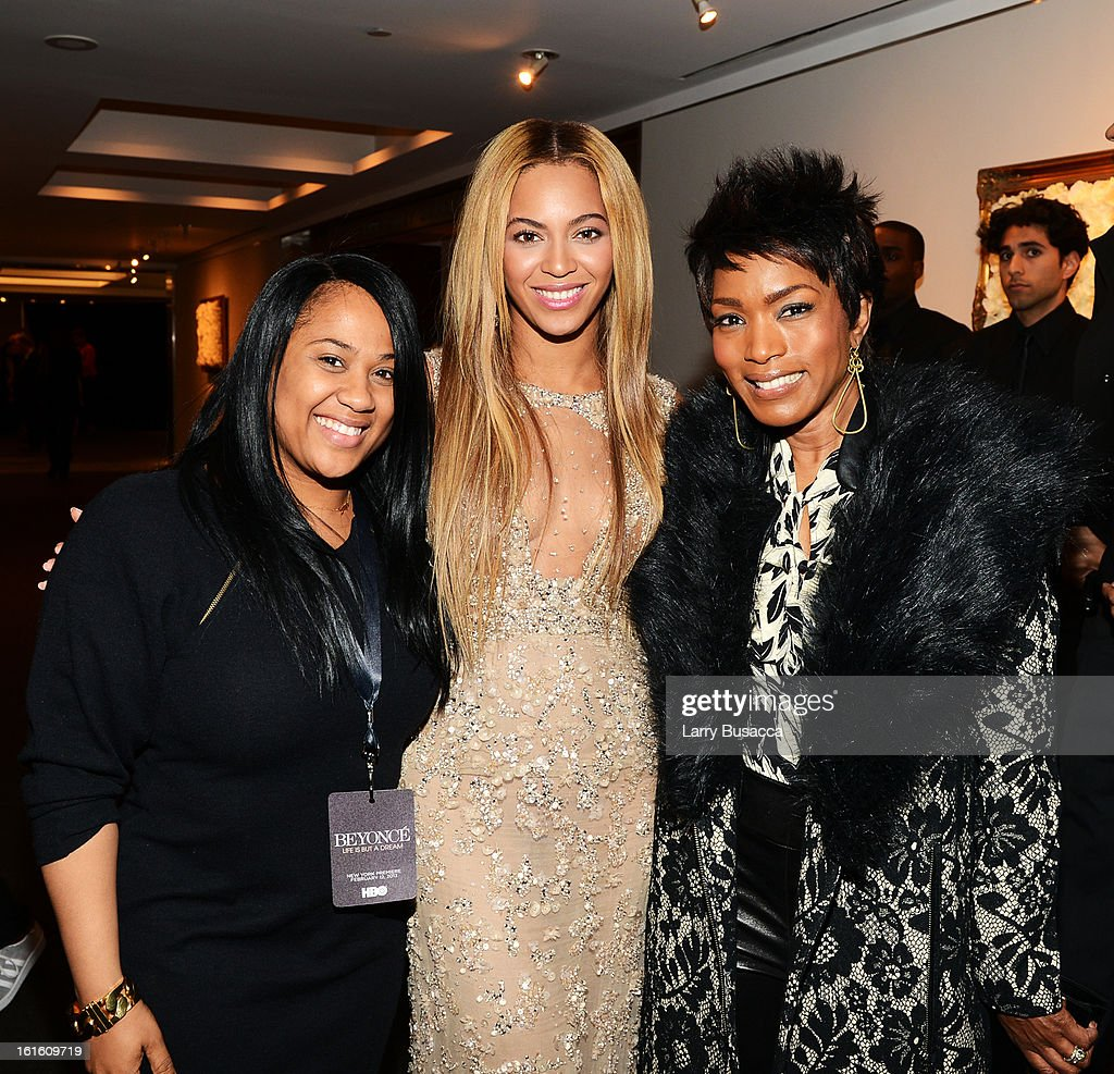 Angela Beyince, Beyonce and actress Angela Bassett attend the after party following the premiere of the HBO Documentary Film 'Beyonce: Life Is But A Dream' at Christie's on February 12, 2013 in New York City.