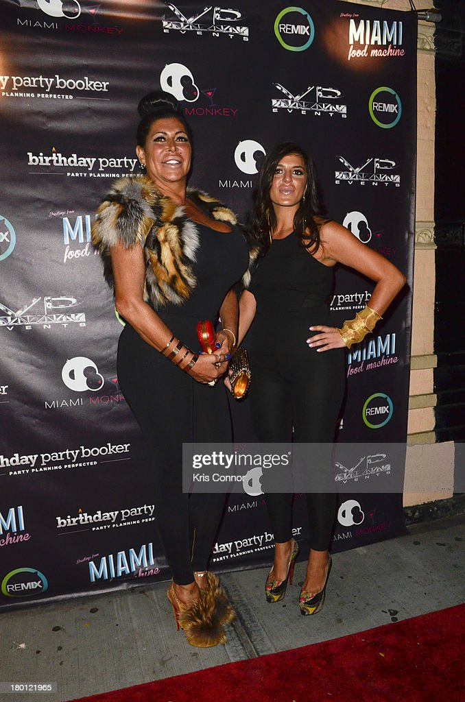 Angela '<a gi-track='captionPersonalityLinkClicked' href=/galleries/search?phrase=Big+Ang&family=editorial&specificpeople=8749866 ng-click='$event.stopPropagation()'>Big Ang</a>' Raiola and Raquel poses for photos during the 'Miaimi Monkey' New Screening at 49 Grove on September 8, 2013 in New York City.