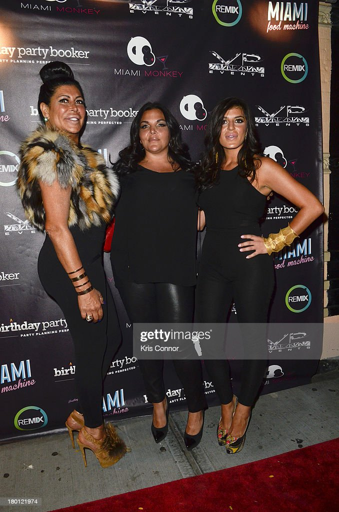 Angela 'Big Ang' Raiola, Jennifer Graziano and Raquel poses for photos during the 'Miaimi Monkey' New Screening at 49 Grove on September 8, 2013 in New York City.