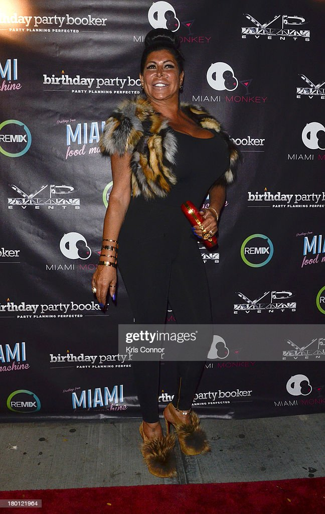 Angela '<a gi-track='captionPersonalityLinkClicked' href=/galleries/search?phrase=Big+Ang&family=editorial&specificpeople=8749866 ng-click='$event.stopPropagation()'>Big Ang</a>' Raiola poses for photos during the 'Miaimi Monkey' New Screening at 49 Grove on September 8, 2013 in New York City.