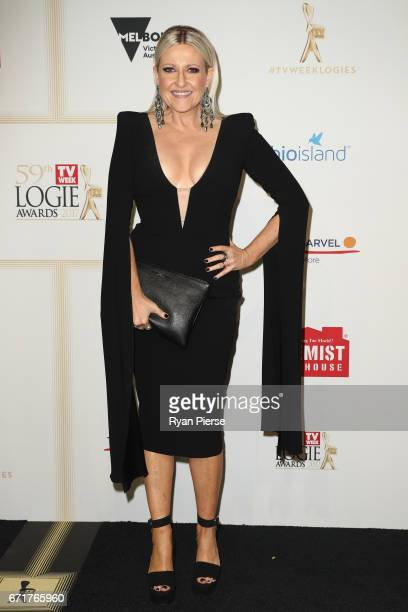 Angela Bishop arrives at the 59th Annual Logie Awards at Crown Palladium on April 23 2017 in Melbourne Australia