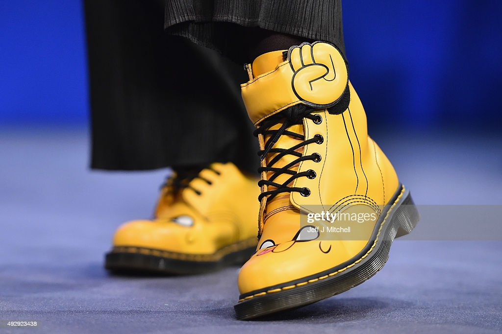 Angela Constance MSP wears yellow Dr Martens boots during the morning session on day two of the 81st annual SNP conference at the Aberdeen Exhibition...