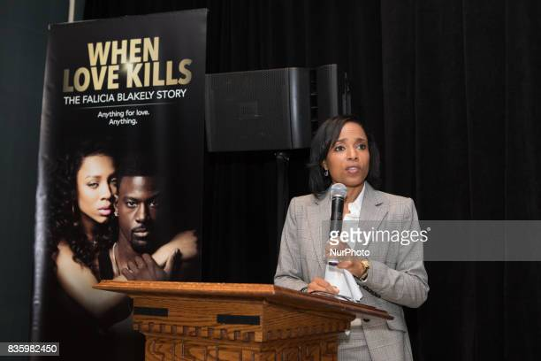 Angela D Alsobrooks State's Attorney Prince George's County Maryland speaks to guests at TV One's DC Premiere of When Love Kills The Falicia Blakely...