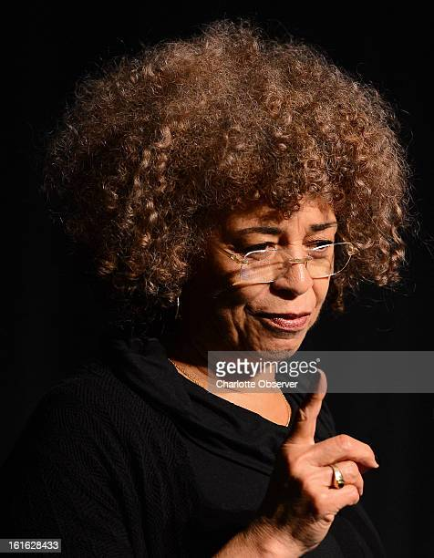 Angela Davis a political activist scholar and author speaks to high school students from the Charlotte area Wednesday February 13 at the Booth...