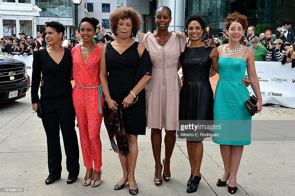 <a gi-track='captionPersonalityLinkClicked' href=/galleries/search?phrase=Angela+Davis+-+Activist&family=editorial&specificpeople=233774 ng-click='$event.stopPropagation()'>Angela Davis</a>, producer Sidra Smith, director Shola Lynch and guests attend the 'Free Angela & All Political Prisoners' premiere during the 2012 Toronto International Film Festival at Roy Thomson Hall on September 9, 2012 in Toronto, Canada.
