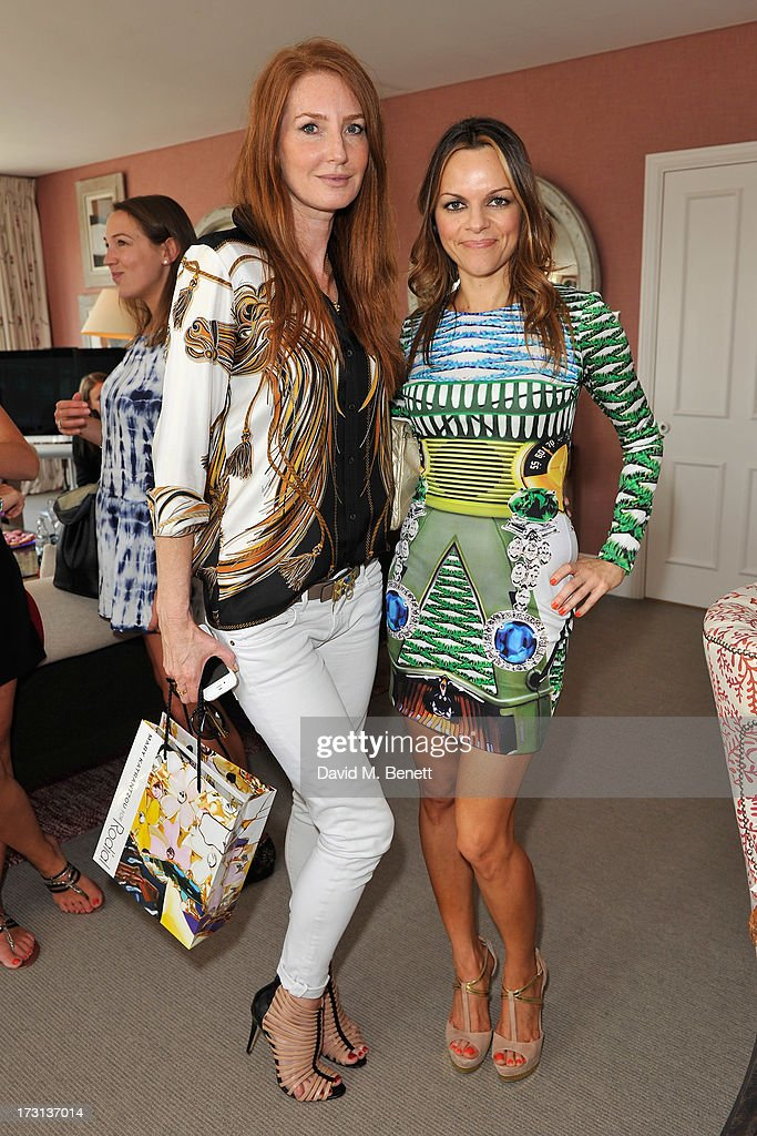 Angela Dunn Radcliffe and Maria Hatzistefanis attend Mary Katrantzou for Rodial candle launch party at Soho Hotel on July 8, 2013 in London, England.