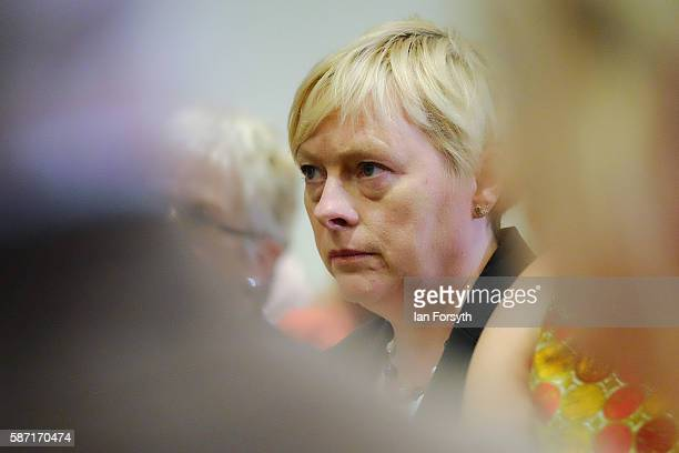 Angela Eagle listens as Owen Smith candidate for leadership of the UK opposition Labour party delivers a speech on the economy at The Auditorium...