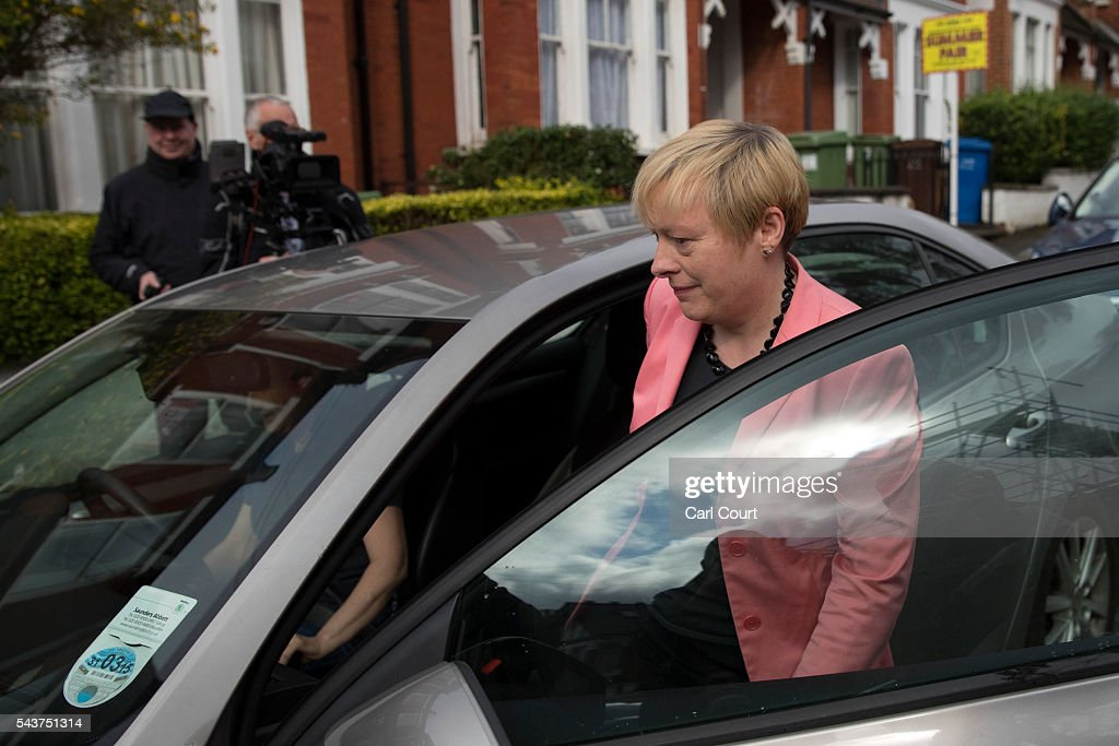 <a gi-track='captionPersonalityLinkClicked' href=/galleries/search?phrase=Angela+Eagle&family=editorial&specificpeople=2486372 ng-click='$event.stopPropagation()'>Angela Eagle</a>, the former shadow business secretary who resigned from the shadow cabinet on Monday, leaves her home into a car on June 30, 2016 in London, England. Ms Eagle is widely expected to challenge Jeremy Corbyn for the Labour leadership today as calls continued for him to step down.
