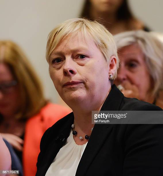 Angela Eagle waits for the arrival of Labour leadership candidate Owen Smith as he addressed supporters during a speech on the economy at The...