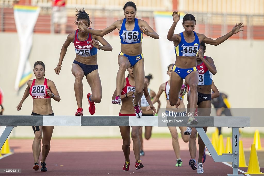 Angela Figueroa of colombia leads in women's 3,000m steeplechase final as part of the XVII Bolivarian Games Trujillo 2013 at Chan Chan Stadium on November 29, 2013 in Trujillo, Peru.