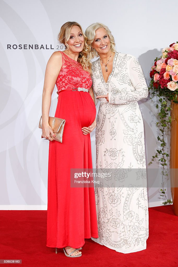 Angela Finger-Erben and Bettina von Schimmelmann attend the Rosenball 2016 on April 30 in Berlin, Germany.
