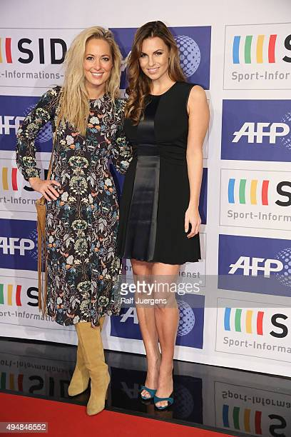 Angela FingerErben and Laura Wontorra attend the party of SportInformationsDienst who celebrates his 70th Birthday at their editorial office on...