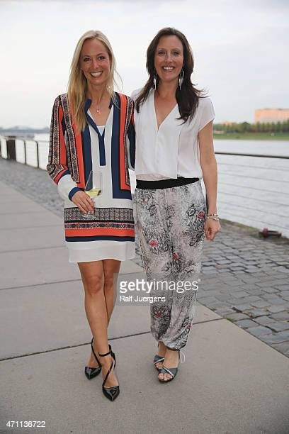 Angela FingerErben and Roberta Bieling attend the party of Katja Burkard who celebrates her 50th Birthday at VintageRestaurant on April 25 2015 in...