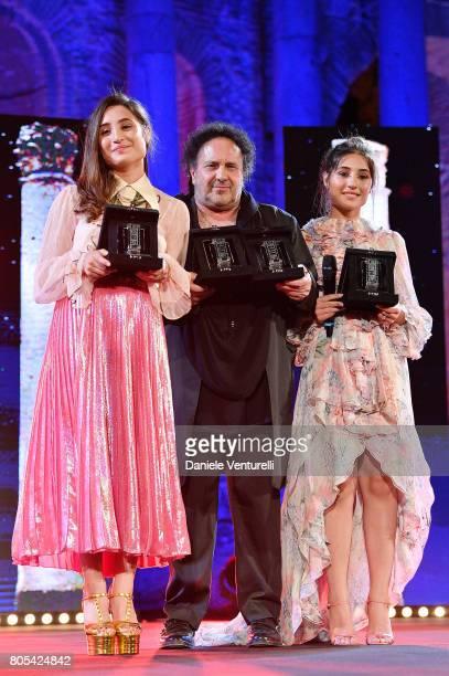Angela Fontana Enzo Avvitabile and Marianna Fontana attend Nastri D'Argento 2017 Awards Ceremony on July 1 2017 in Taormina Italy