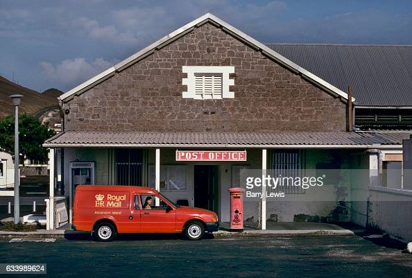 Angela Francais the postmistress in her van outside the post office 27th May 1997 on Ascension a small isolated volcanic island in the equatorial...