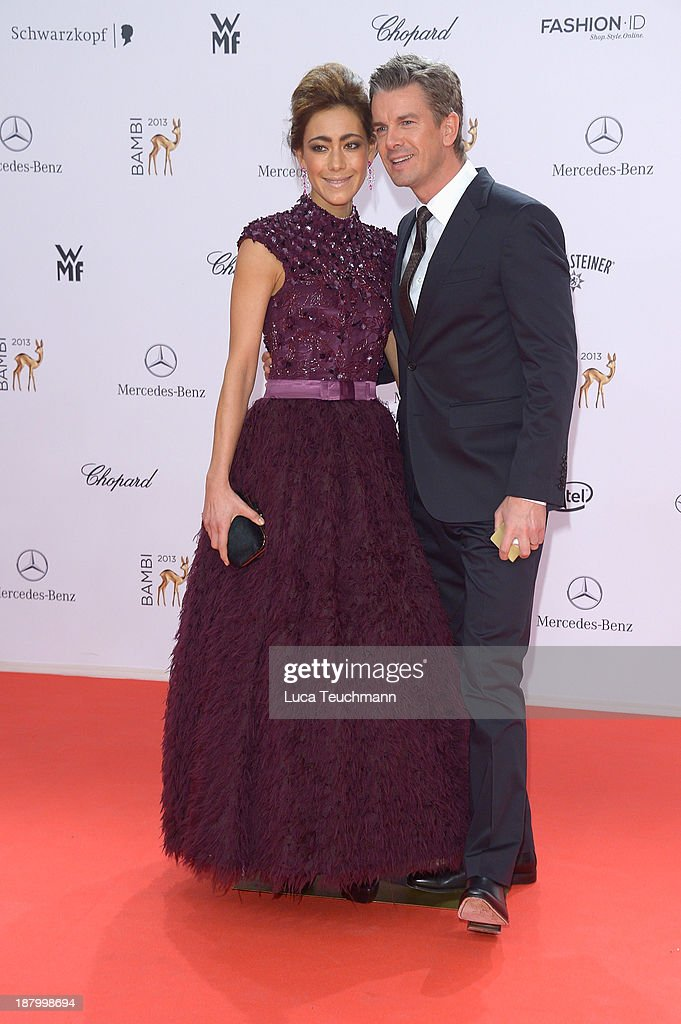 Angela Gessmann and <a gi-track='captionPersonalityLinkClicked' href=/galleries/search?phrase=Markus+Lanz&family=editorial&specificpeople=2080192 ng-click='$event.stopPropagation()'>Markus Lanz</a> attend the Bambi Awards 2013 at Stage Theater on November 14, 2013 in Berlin, Germany.