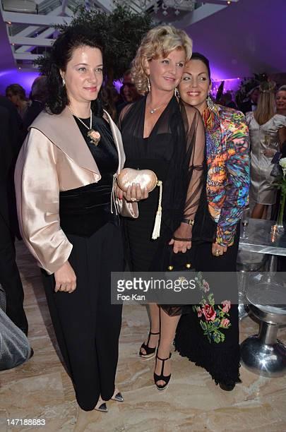 Angela Graciun Jane Manson and Hermine de Clermont Tonnerre attend the Chateau de Saint Cloud Gala Auction Dinner at the Salons Hoche on June 26 2012...