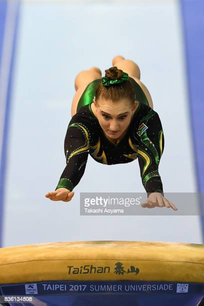 Angela Hilda Maguire of South Africa competes on the vault during the Women's Qualifications Team Final Subdivision 3 during day two of the 29th...