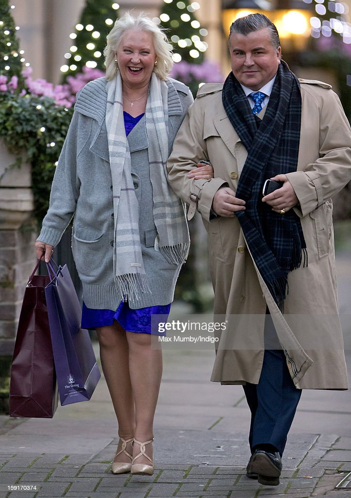 Angela Kelly (Personal Assistant and Senior Dresser to Queen Elizabeth II) (L) leaves the Goring Hotel after attending a Christmas Lunch hosted by Queen Elizabeth II for her close members of staff on December 03, 2012 in London, England.