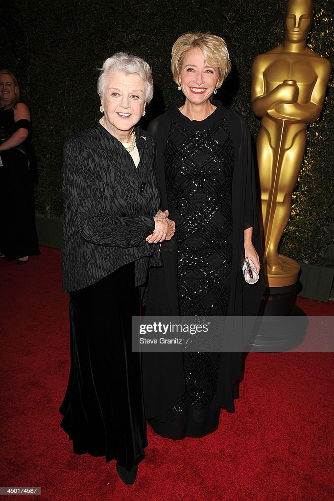 <a gi-track='captionPersonalityLinkClicked' href=/galleries/search?phrase=Angela+Lansbury&family=editorial&specificpeople=204636 ng-click='$event.stopPropagation()'>Angela Lansbury</a> and <a gi-track='captionPersonalityLinkClicked' href=/galleries/search?phrase=Emma+Thompson&family=editorial&specificpeople=202848 ng-click='$event.stopPropagation()'>Emma Thompson</a> arrives at the The Board Of Governors Of The Academy Of Motion Picture Arts And Sciences' Governor Awards at Dolby Theatre on November 16, 2013 in Hollywood, California.