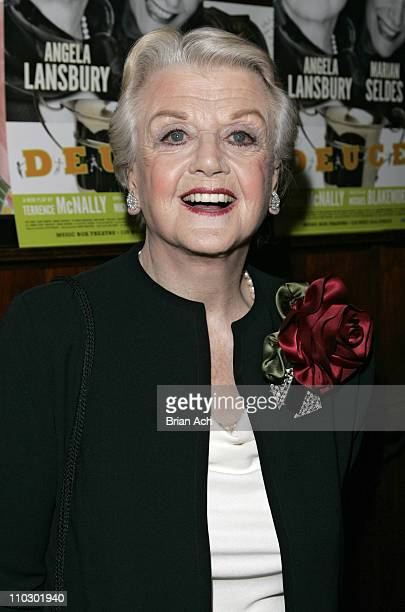 Angela Lansbury during 'Deuce' Opening Night Curtain Call and After Party at Sardi's in New York City New York United States