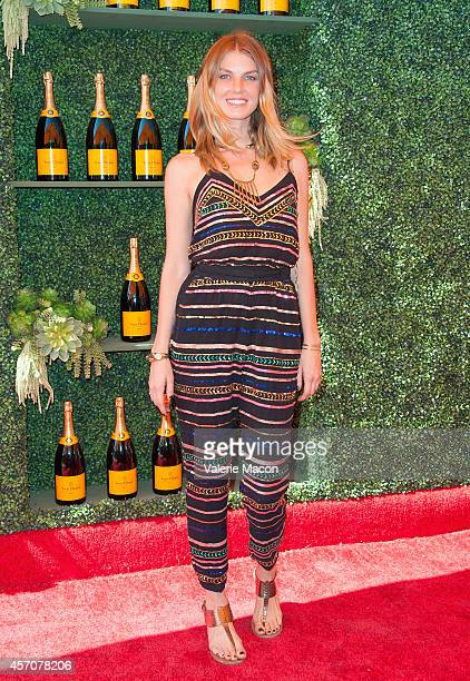 Angela Lindvall arrives at the FifthAnnual Veuve Clicquot Polo Classic Los Angeles at Will Rogers State Historic Park on October 11 2014 in Pacific...