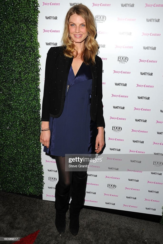 Angela Lindvall arrives at the Vanity Fair And Juicy Couture Celebration Of The 2013 Vanities Calendar With Olivia Munn at Chateau Marmont on February 18, 2013 in Los Angeles, California.