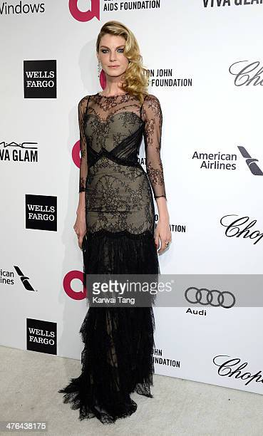 Angela Lindvall arrives for the 22nd Annual Elton John AIDS Foundation's Oscar Viewing Party held at West Hollywood Park on March 2 2014 in West...