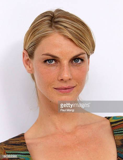 Angela Lindvall pose for a photo at the Philosophy By Natalie Ratabesi show during Spring 2014 MercedesBenz Fashion Week at Location 05 Studios on...