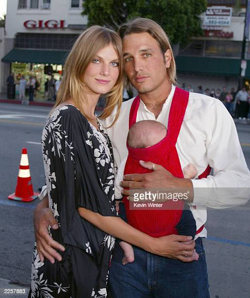 Angela Lindvall with her husband William Edwards and their son Dakota at the premiere of 'CQ' at the Egyptian Theatre in Los Angeles Ca Monday May 13...