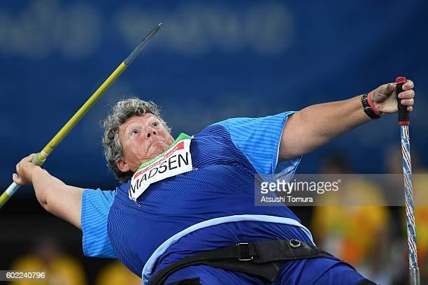 Angela Madsen of the USA competes in the women's javelin throw F56 final on day 3 of the Rio 2016 Paralympic Games at Olympic stadium on September 10...