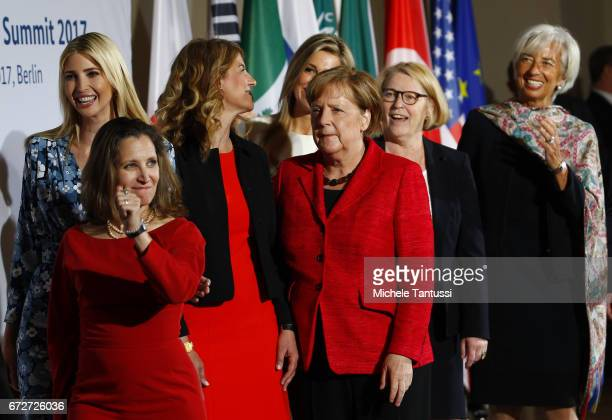 Angela Merkel Federal Chancellor of Germany looks on during a Family Photo with Chrystia Freeland Minister for Foreign Affairs Canada Ivanka Trump...