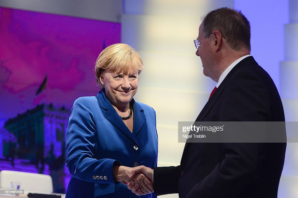Angela Merkel German Chancellor and Chairwoman of the German Christian Democrats and Peer Steinbrueck chancellor candidate of the German Social...