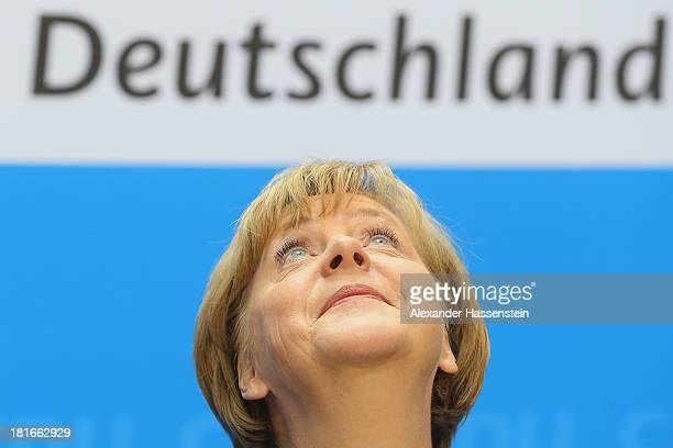 Angela Merkel German Chancellor and Chairwoman of the German Christian Democrats looks on during a press conference after a meeting of the CDU...