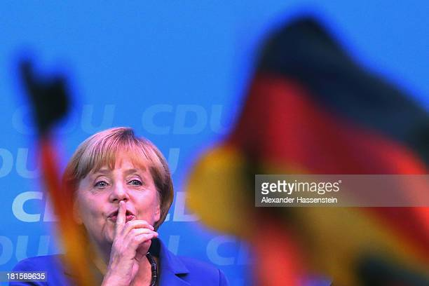 Angela Merkel German Chancellor and Chairwoman of the German Christian Democrats celebrates with supporters at CDU headquarters KonradAdenauerHaus...