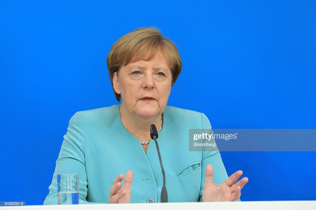Angela Merkel, Germany's chancellor and leader of the Christian Democratic Union (CDU) party, speaks during a news conference in Potsdam, Germany, on Saturday, June 25, 2016. Merkel signaled she wants to avoid punishing the U.K. as it leaves the European Union, though the exit talks shouldnt drag on forever. Photographer: Krisztian Bocsi/Bloomberg via Getty Images