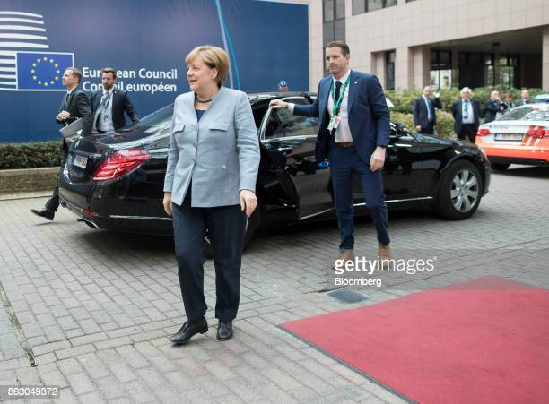 Angela Merkel Germany's chancellor arrives for a meeting of European Union leaders in Brussels Belgium on Thursday Oct 19 2017 UK Prime Minister...