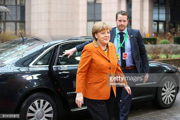 Angela Merkel Germany's chancellor arrives for a meeting with European Union leaders in Brussels Belgium on Monday March 7 2016 European leaders are...