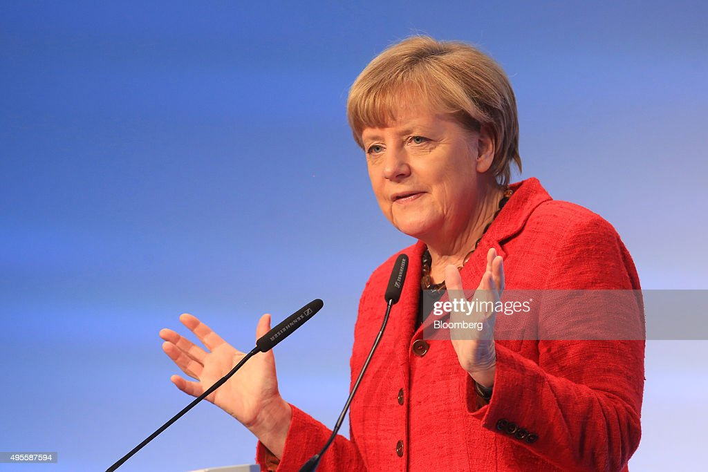 Angela Merkel Germany's chancellor gestures as she addresses a BDI German industry lobby group event in Berlin Germany on Tuesday Nov 3 2015...