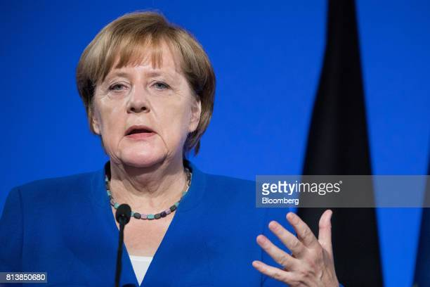 Angela Merkel Germany's chancellor gestures while speaking during a news conference with France's President Emmanuel Macron following a FrancoGerman...