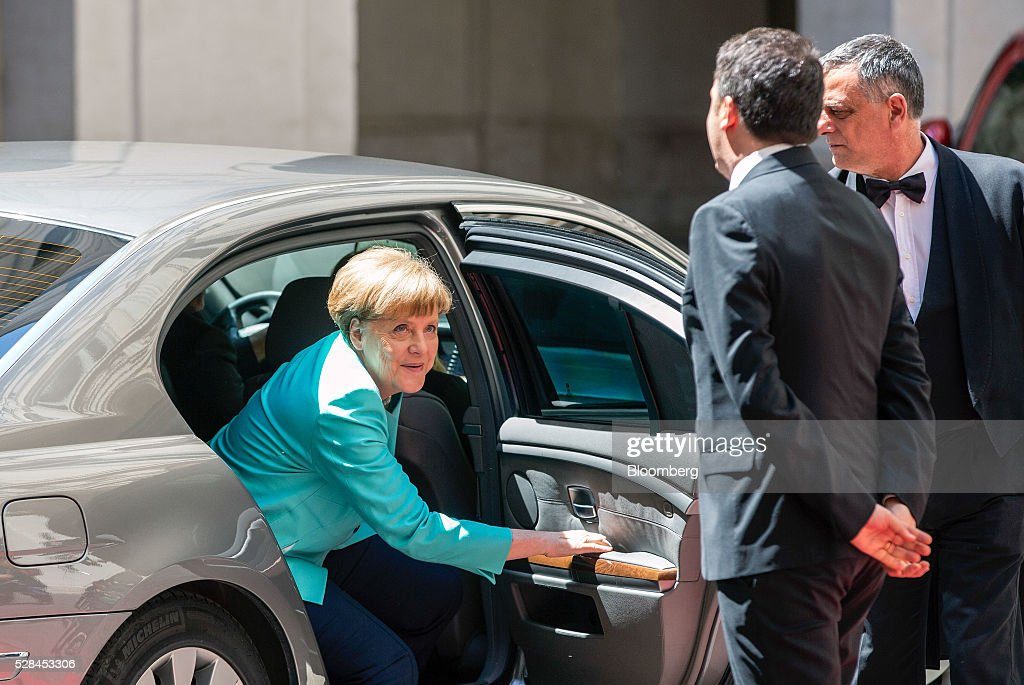 <a gi-track='captionPersonalityLinkClicked' href=/galleries/search?phrase=Angela+Merkel&family=editorial&specificpeople=202161 ng-click='$event.stopPropagation()'>Angela Merkel</a>, Germany's chancellor, left, prepares to greet <a gi-track='captionPersonalityLinkClicked' href=/galleries/search?phrase=Matteo+Renzi&family=editorial&specificpeople=6689301 ng-click='$event.stopPropagation()'>Matteo Renzi</a>, Italy's prime minister, center, as she arrives ahead of their meeting at the Chigi Palace in Rome, Italy, on Thursday, May 5, 2016. The number of migrants accepted by Europe's largest economy has put it at the center of the debate on immigration and helped prompt Merkel aid the European effort to staunch the flows. Photographer: Alessia Pierdomenico/Bloomberg via Getty Images