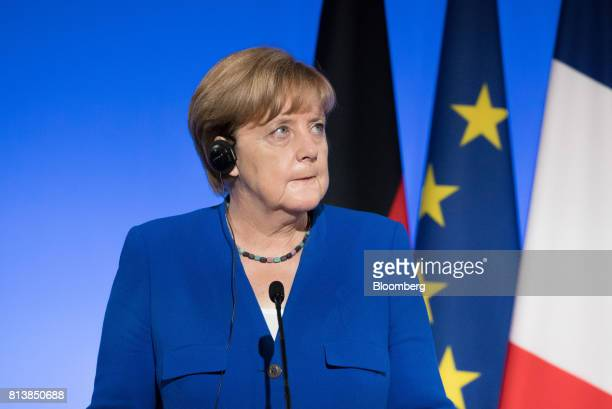 Angela Merkel Germany's chancellor looks on during a news conference with France's President Emmanuel Macron following a FrancoGerman joint cabinet...