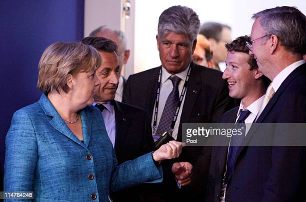 Angela Merkel Germany's chancellor Nicolas Sarkozy France's president Maurice Levy chief executive officer of Publicis Group SA Mark Zuckerberg...