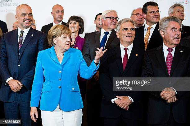 Angela Merkel Germany's chancellor second left gestures as Edi Rama Albania's prime minister left Werner Faymann Austria's chancellor second right...