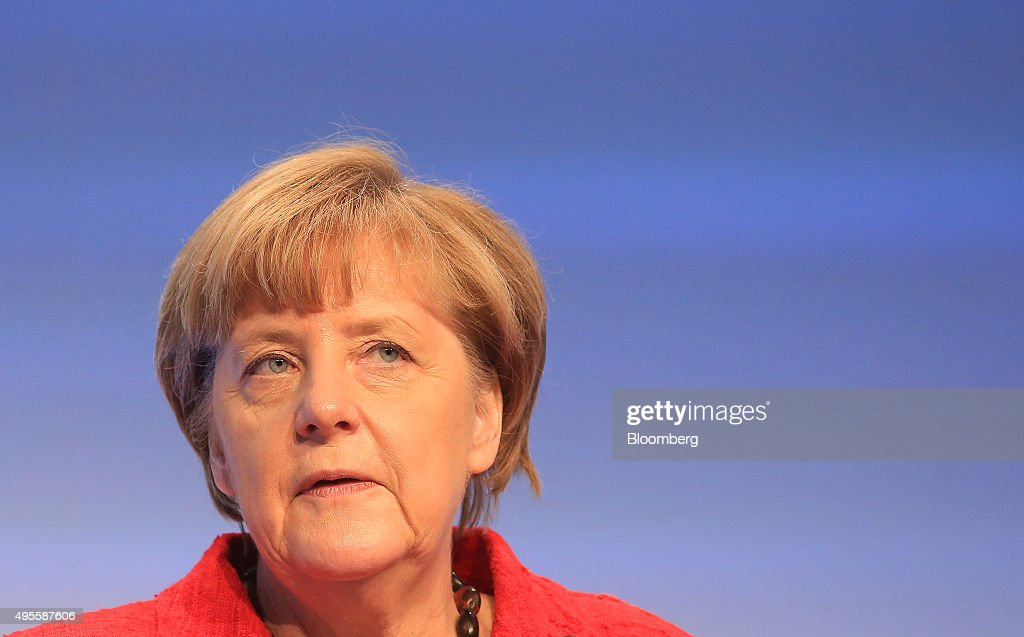 Angela Merkel Germany's chancellor speaks as she addresses a BDI German industry lobby group event in Berlin Germany on Tuesday Nov 3 2015 Chancellor...