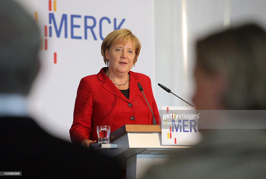 <a gi-track='captionPersonalityLinkClicked' href=/galleries/search?phrase=Angela+Merkel&family=editorial&specificpeople=202161 ng-click='$event.stopPropagation()'>Angela Merkel</a>, Germany's chancellor, speaks at the Merck KGaA research center in Darmstadt, near Frankfurt, Germany, on Tuesday, Sept. 23, 2010. Merck KGaA is developing liquid crystals for 3-D televisions that don't require special glasses as the company seeks to bolster sales of the fastest-growing use for the product. Photographer: Hannelore Foerster/Bloomberg via Getty Images